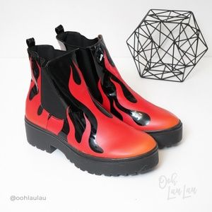"Iron Fist ""Fire Sign"" Flame Chelsea Boots"